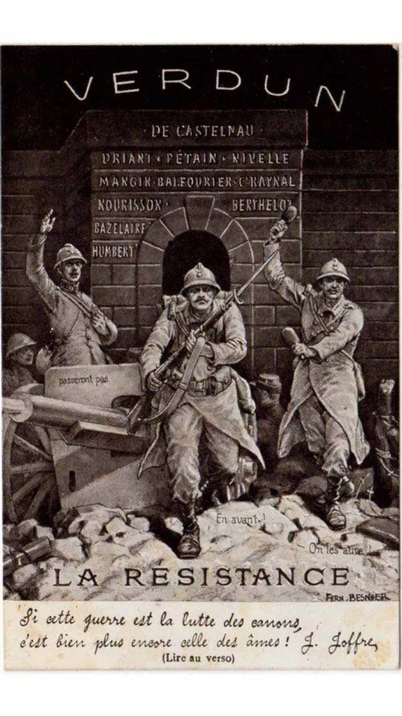 WW1, Verdun 1916. Spirit of La Resistance at Verdun engendered in this wartime…