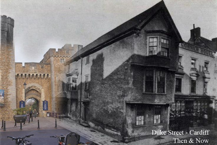 Cardiff Then and Now: Spellbinding pictures of the Welsh capital as you've never seen it before   This was High Corner House in front of Cardiff Castle a few years before demolition in the 1870s/80s