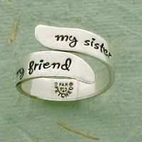 My Sister My Friend Adjustable Sterling Ring at Hope Faith Love