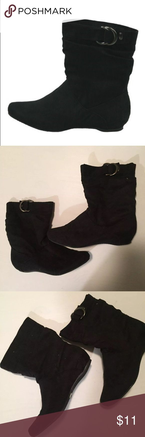 Black Faux Suede bootie Black suede-like slip on flat boots Sizes available in 6 - 6.5 - 8 - 8.5 - 9 - 10 — brand is capella  *We are a small boutique in central PA that has recently closed - EVERYTHING is new with tags - HAPPY SHOPPING!!:) —ask any questions - we love bundles ! DIAA Shoes Ankle Boots & Booties