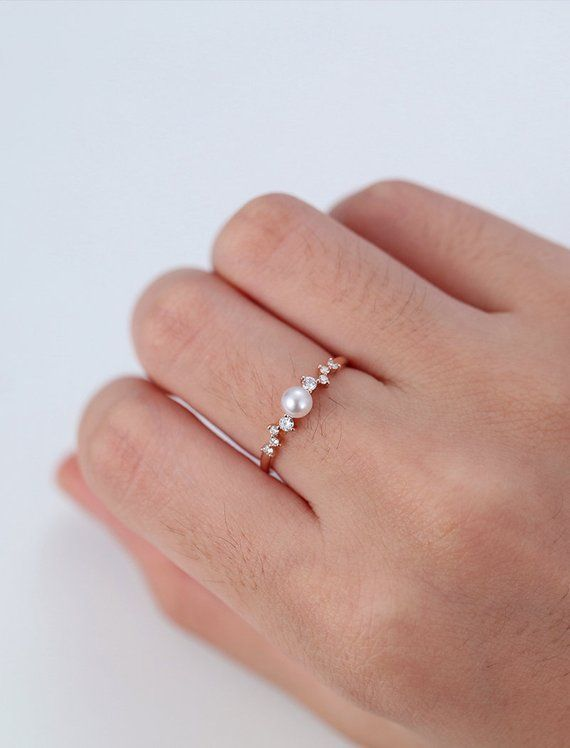 Diamond Cluster ring Pearl engagement Ring Rose Gold Mini Unique Wedding Women Twig Bridal set Delicate Multi Gift Promise Anniversary – jewelry