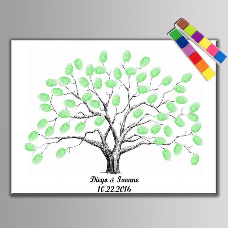 ¡ Caliente! lienzo de La Boda Libro de Visitas de la Huella Digital del Árbol Decoración de artículos para Fiestas de Regalo de Boda Baby Shower Bautismo Primera Comunión con Tintas en   de   en AliExpress.com | Alibaba Group