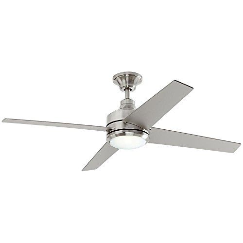 Mercer 52 in. LED Indoor Brushed Nickel Ceiling Fan  Add a contemporary look to your home with the Home Decorators Collection Mercer 52 in. LED Brushed Nickel Ceiling Fan. This 3-speed fan features 4-blades to help move air efficiently, with quiet, wobble-free operation. This fixture offers an integrated light covered by an etched opal glass and includes a 14-Watt LED bulb.  4 silver blades with 14° blade pitch for greater air movement. Brushed nickel finish complements a variety of de...