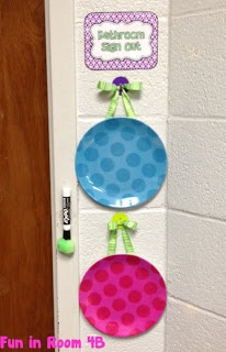When a student leaves the room to go to the restroom, I am also going to have them sign out on these sign out boards. They can be written on with dry erase marker and then wiped clean when the child returns. There is a pom pom on the dry erase maker.