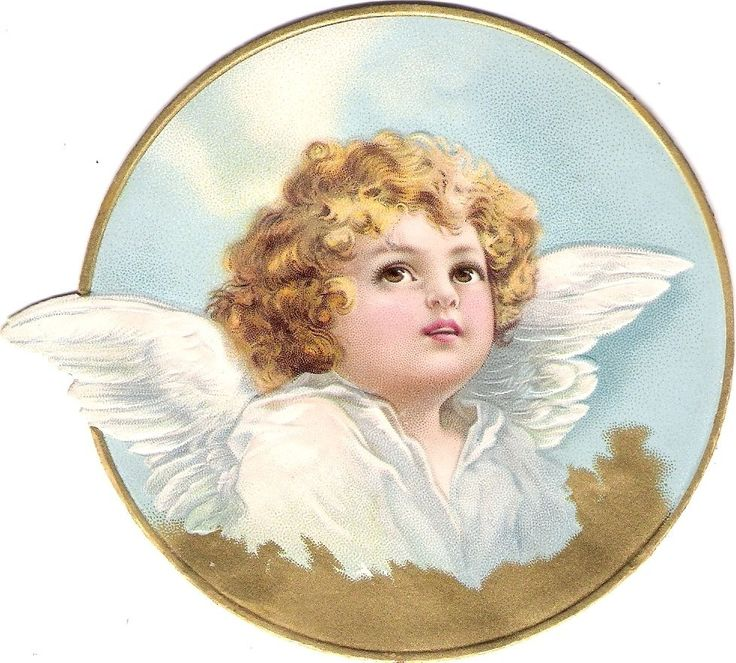Oblaten Glanzbild scrap die cut chromo Engel angel  12,5 cm  Medaillon  gold