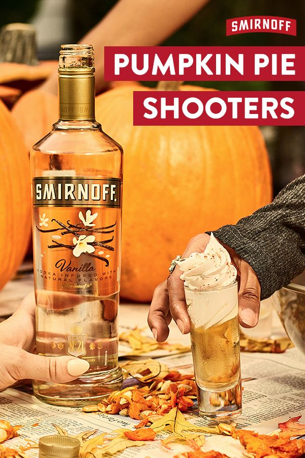 Pour a shot of this smooth fall-tastic Smirnoff recipe. The Pumpkin Pie Shooter is perfect for autumn, picnics, hayrides and the pumpkin patch.  Recipe: 2 oz of Smirnoff Vanilla chilled, ½ teaspoon pumpkin pie spice, 1 oz heavy cream, top with whipped cream and chocolate syrup.
