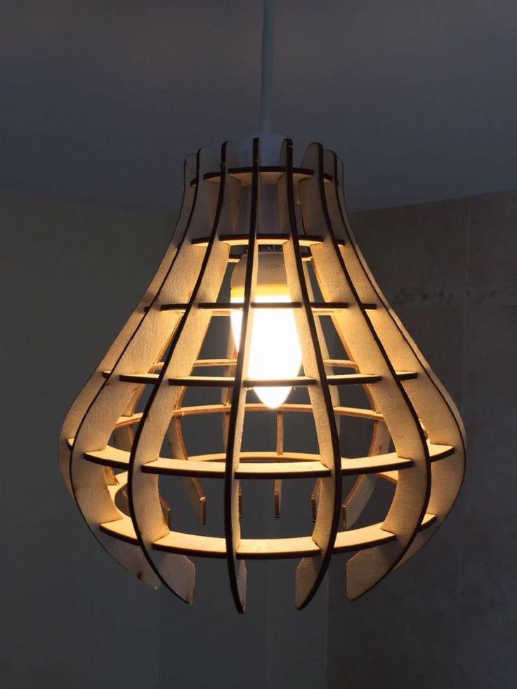 hanging lamp shade craft | Rain Drop Design Laser Cut Wooden Hanging Lamp Shade
