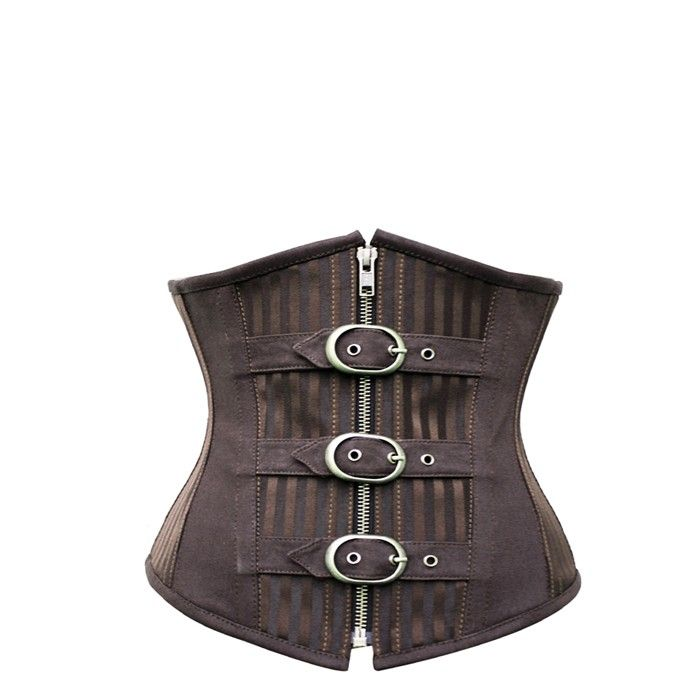 This steampunk brown corset is an underbust garment and is fully steel-boned in order to help you get that amazing hourglass shape that you've always wanted. We think that there's a touch of the pirate look with this corset, so get ready to sail the high seas, Jolly Roger and all.   This corset can be worn with as simple or as elaborate a shirt underneath that you can find in your closet and would go great with one of our range of steampunk skirts and jackets!