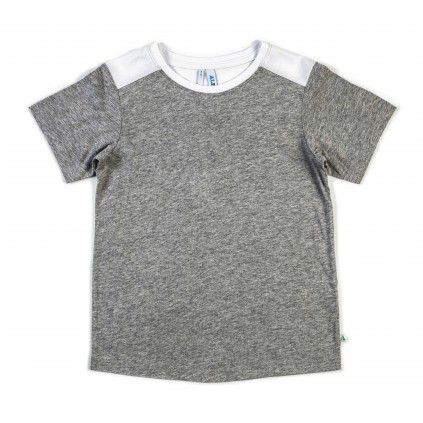 Yoke Detail Tee - Grey Marle/White