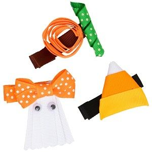 "Nothing says ""IT'S #OCTOBER"" like our #grosgrain #Halloween Trio #HairClips. #Accessorize the #holiday with the #pumpkin, #ghost or #candycorn. Each design is attached to a lead free alligator clip. #Judanzy #babies #love #cute #accessories"