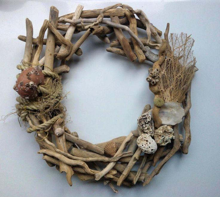 #wreath #sea #navy #shells #handmade