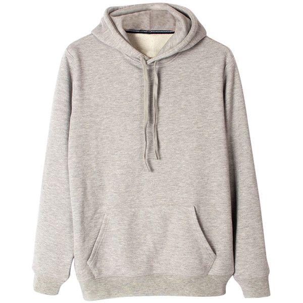 Womens Loose Plain Long Sleeve Kangaroo Pocket Pullover Hoodie Gray (£17) ❤ liked on Polyvore featuring tops, hoodies, grey, pullover hoodies, gray hoodie, gray pullover hoodie, sweater pullover and cotton hoodies