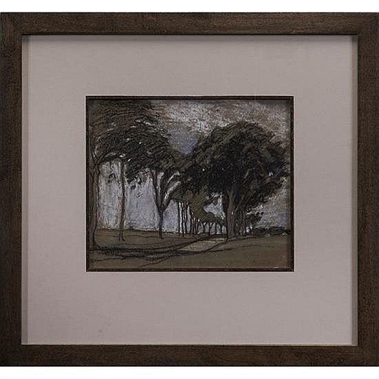 """<b>Margaret Jordan Patterson</b> <br  /> (American, 1867-1950) <br  /> <b>Study for <i>Avenue of Trees</b></i> <br  /> pastel drawing <br  /> <i>Mass.</i> in pencil lower right, unsigned, framed  <br  /> 7.25"""" x 8.75"""" <br  />  <br  /> Provenance: James R. Bakker Auctions, 25 June 1991 <br  /> The Collection of Robert and Elaine Dillof, Croton Falls, NY"""