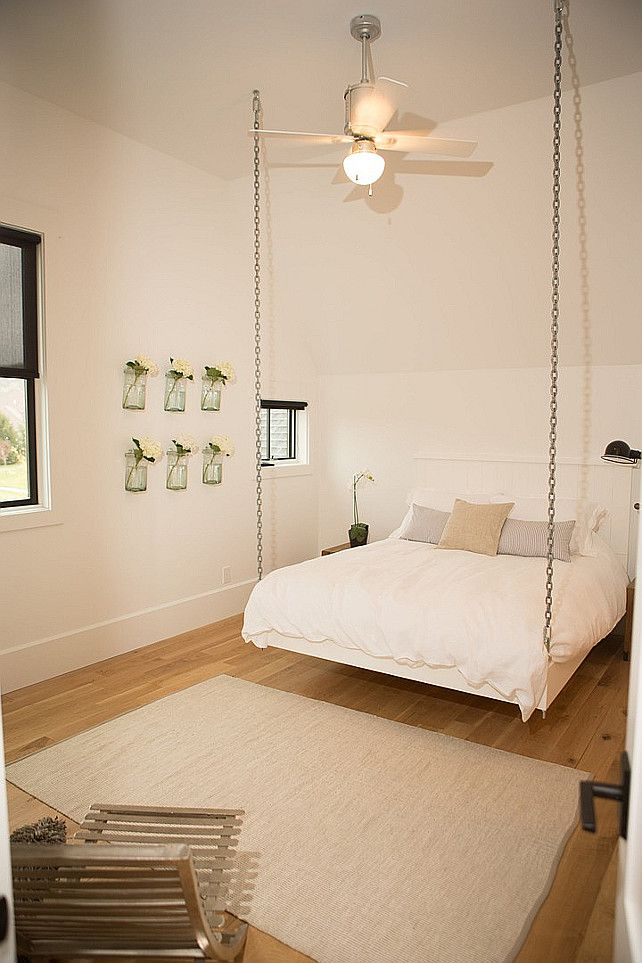Hanging Bed. Chain Hanging Bed Ideas. Cottage Bedroom Features A Hanging  Bed Suspended From