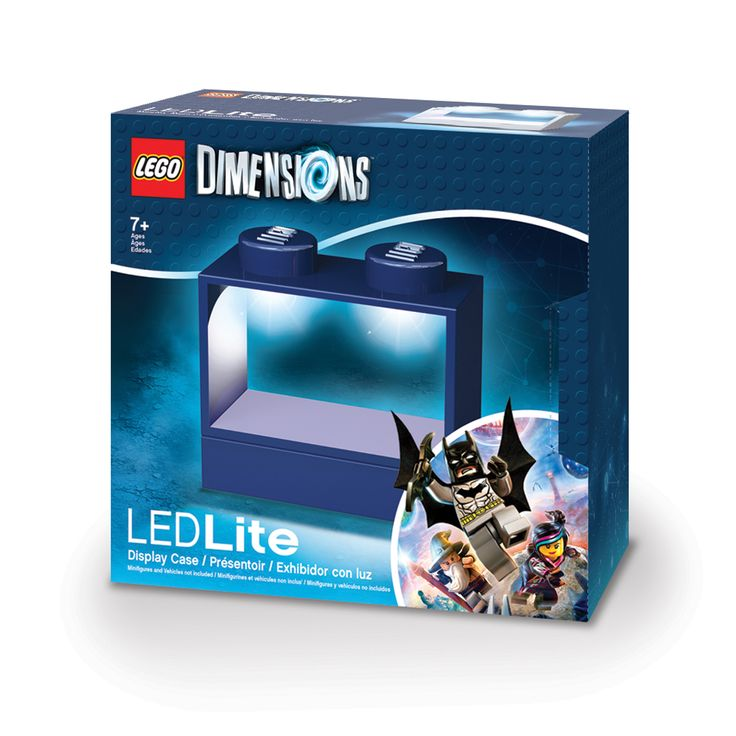 This LEGO Dimensions Lighted Display Case can comfortably display two mini-figures. This Lego display case doubles as a nightlight featuring a touch sensory switch and auto shutoff function.