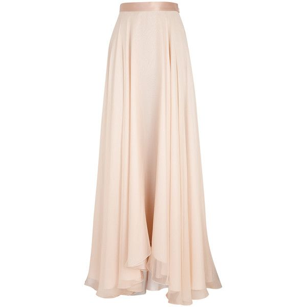 Lanvin Blush Draped Silk Chiffon Maxi Skirt - Size 14 (€3.070) ❤ liked on Polyvore featuring skirts, bottoms, saias, maxi skirt, faldas, floor length skirt, flared maxi skirt, maxi skirts, long draped skirt and draped skirt