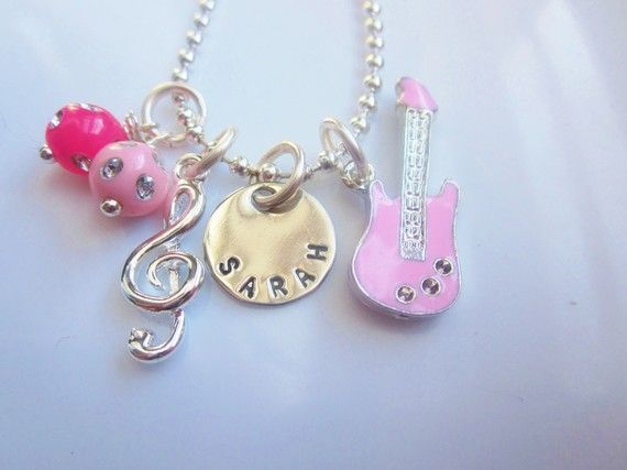 Personalized Rock Star Guitar and Music Lovers Girl's Charm Necklace, Also in Red, Black, Yellow, Blue from the belle bambine children's line. This Rock Star sparkling necklace will make any girl want to make music!