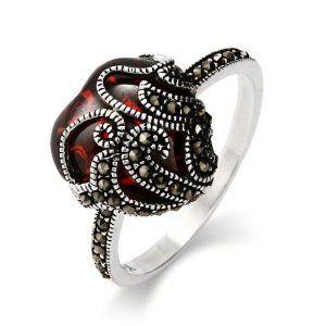 Vintage Style Garnet Glass Heart Sterling Silver Marcasite RIng - #AmazonFashion