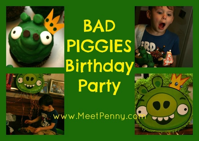 A super fun but frugal BAD PIGGIES birthday party with the cutest King Pig cupcake you have ever seen! www.MeetPenny.com