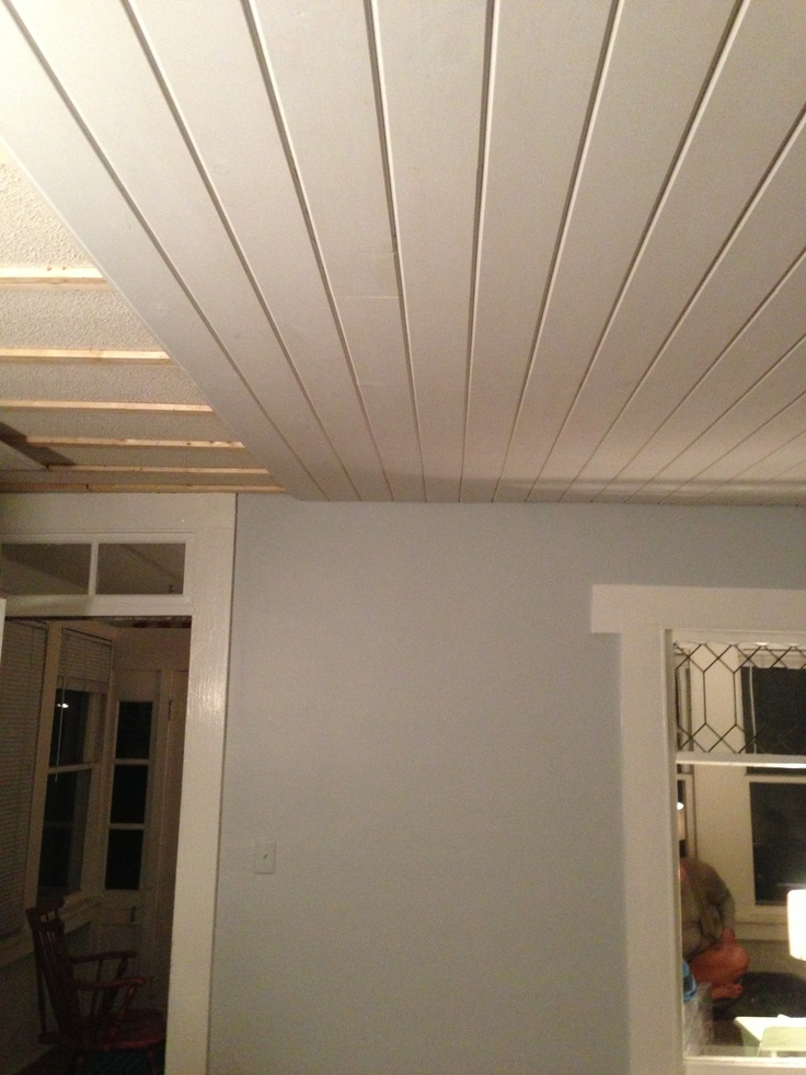Tongue And Groove Pine Over Old Ceiling House