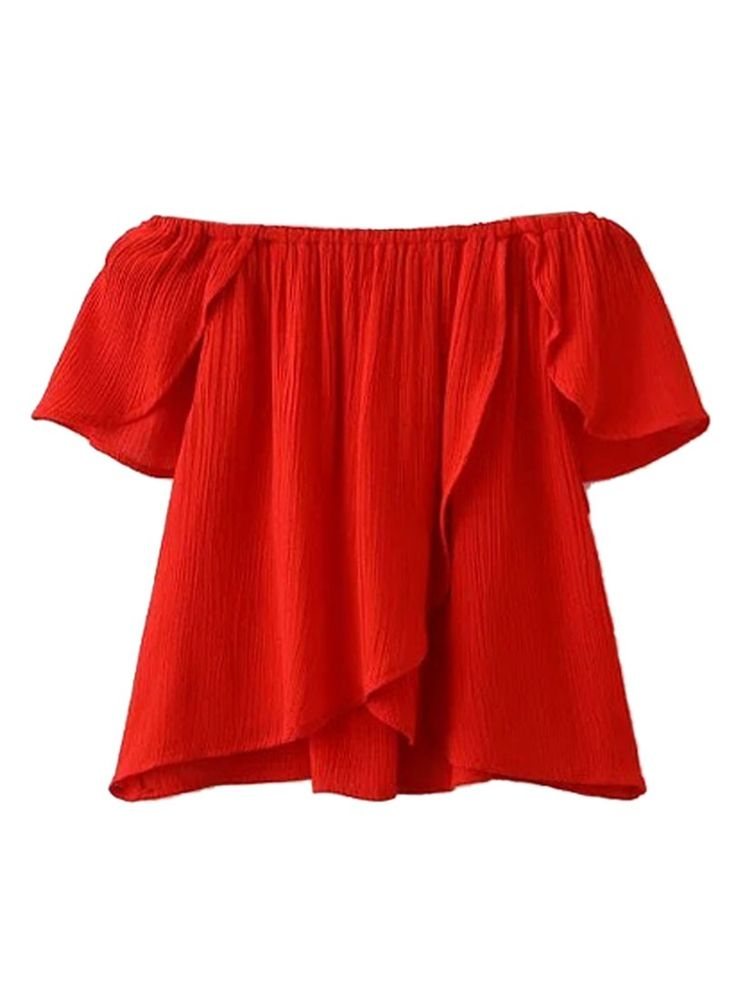 Red Off Shoulder Ruffle Sleeve Wrap Back Blouse