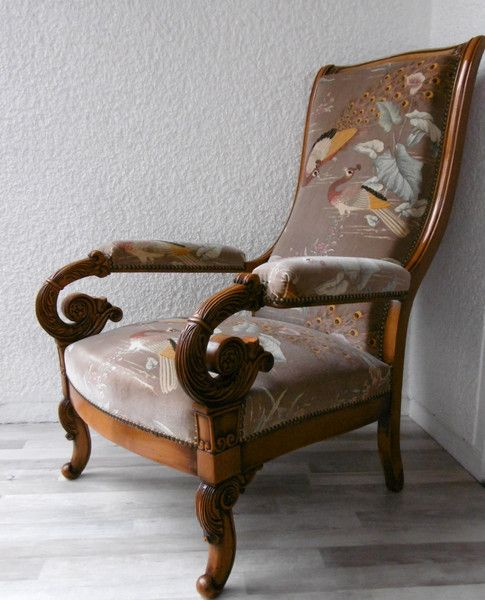 Vintage Armchair - Vintage / Antique Armchair Velvet Cover Peacock Wood Chair - a design piece from MissTell on DaWanda