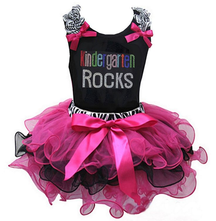 Kirei Sui Girls Rhinestone Kindergarten Rocks Tank Top Zebra Hot Pink Tutu X-Small. Package included: 1x Tank Top and 1X Skirt. Material: Cotton and Polyester. High quality cotton top is gorgeous! .You can easily match these tops with any of our pettiskirts or Pettipants. Color: As picture.