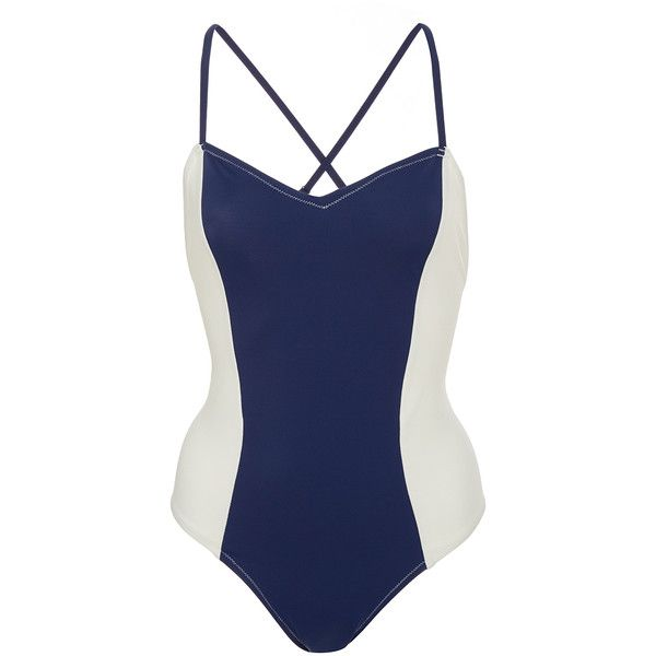 Solid & Striped Diana Two Tone One Piece (260 BGN) ❤ liked on Polyvore featuring swimwear, one-piece swimsuits, multi, cross back bathing suit, 1 piece swimsuit, striped swimsuit, open-back one-piece bathing suits and cross back one piece swimsuit