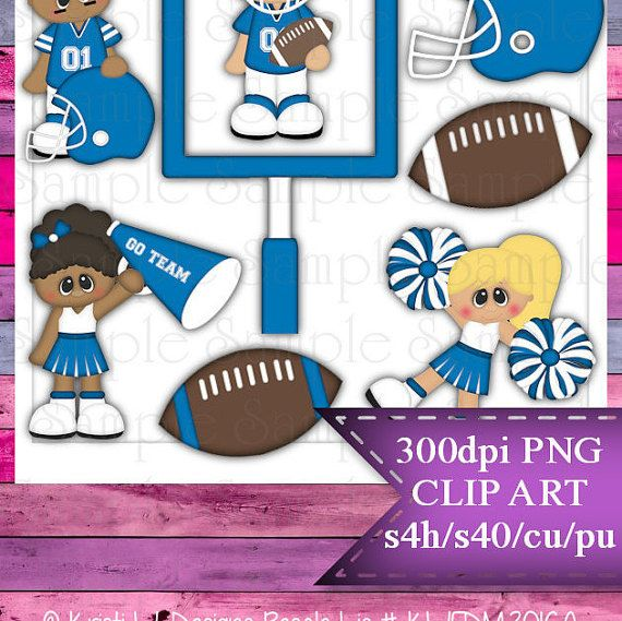 Clipart | Time For Football Light Blue White | Kristi W. Designs Reseller |  for Personal & Commercial Use Instant Download