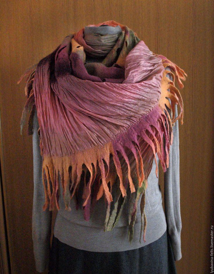 Купить Шарф валяный Ранняя осень - шарф, палантин, войлок, валяный шарф, валяный палантин , scarf, handmade scarf, stola, felting,