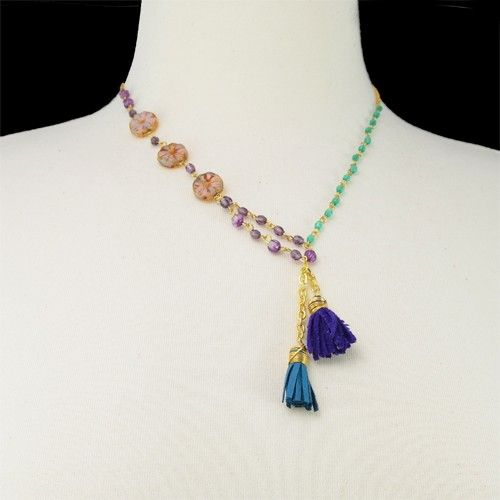 Sunflower Tassel NecklaceWorm by Angelique Boyer in ABISMO DE PASION