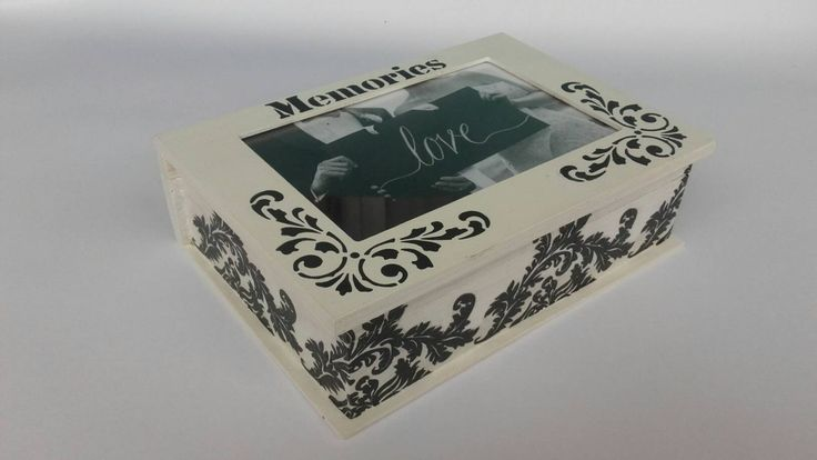 Black and white wedding box, photo memory box, handmade wooden frame box, anniversary box, keepsake box, wedding gift,black and white decor by KristanArt on Etsy