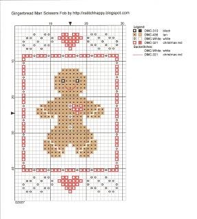 Cross Stitch Happy: Gingerbread Man Scissors Fob     (....cr...about 30x30)