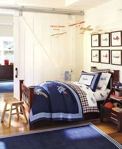 Pottery barn bedroom - I like the frames on the wall (well everything really)