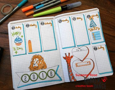 * Rubber Dance Blog *: Bullet Journal Layout with African Animal Stamps