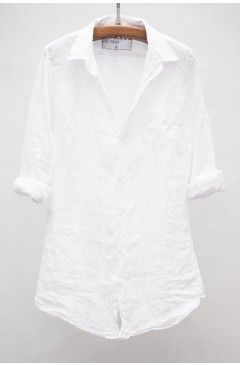 White linen button up with good shape and structure. Cute as a beach cover up or with jeans