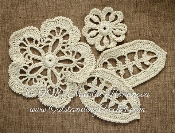 Irish Crochet Motifs Flowers and Leaf Applique Pattern - Crochet lace pattern - Crochet Embellishment - PDF instant download -DIY tutorial