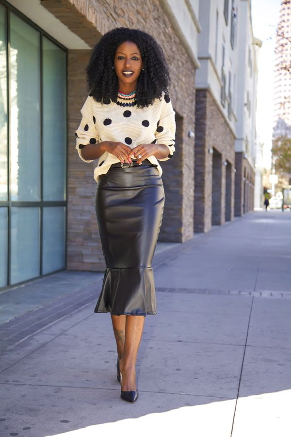 Dotted Chunky Knit + Faux Leather Midi Skirt