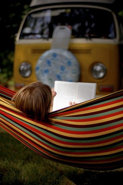 too many of my favorite things in this one pin...a good book, relaxing in a hammock with a VW in the background...