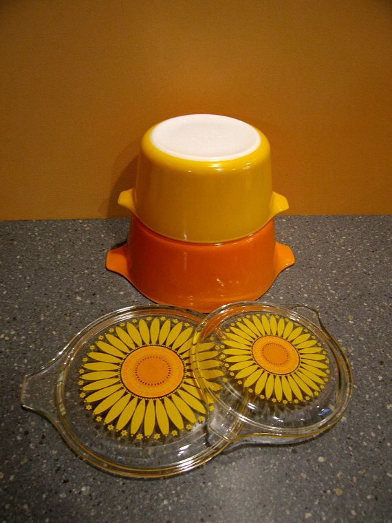 Pyrex Sunflower or  Daisey Casseroles Set of 2 by 19148Vintage, $40.00