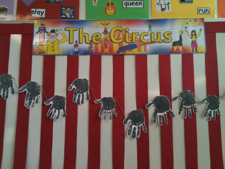 Simple grey handprints make cute circus elephants joined from trunk to tail by grey wool.