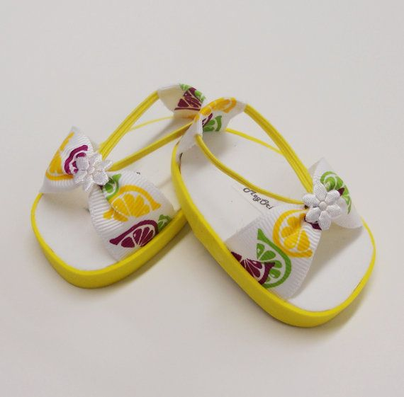 """American Girl 18"" Doll Shoes - Handmade Sandals Lemons & Limes"""