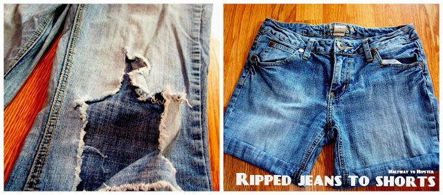 Halfway To Hipster: Tutorial Tuesday: Ripped Jeans to Shorts