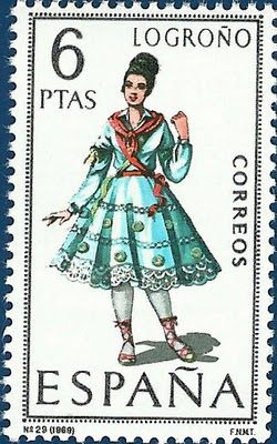 P8 Buttons & Fabrics: Traditional Costumes : Postage Stamps Spain