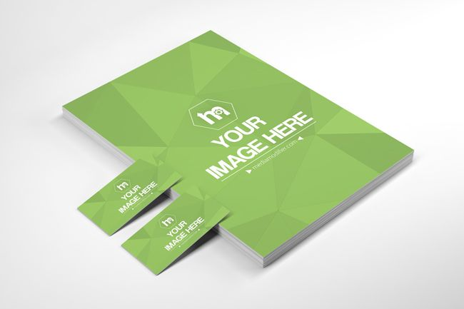 A Simple And Professional 3d Perspective View Branding Mockup Generator With A Stack Of A4 Papers And Business Card Mock Up Mockup Generator Branding Mockups