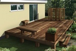 Deck enhancements include a planter box, bench, decorative screen and end table: Greenhurst Deck, Deck Ideas, Bench, Design Ideas, Deck Plans, Deck Enhancements