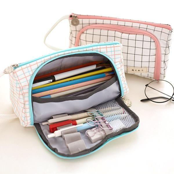 One Piece Pen bag Cute Canvas Zipper Pencil Case Make Up Bag Wallet