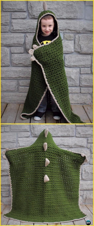 Crochet Hooded Dinosaur Blanket Free Pattern - Crochet Hooded Blanket Free Patterns #crochetblankets