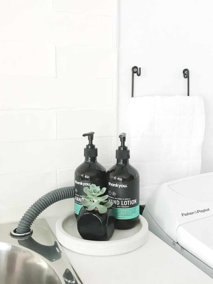 Pocket of laundry styling - hand soap and hand lotion and a small succulent.