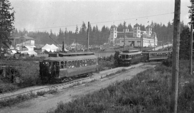 The first Vancouver Exhibition opened at Hastings Park in 1910. Here the Powell Street streetcar arrives at the opening. The city's streetcar line was extended this far east especially for the fair. Photo by James L. Quiney. City of Vancouver Archives CVA 7-106